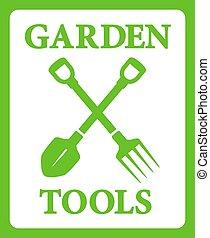outils, travail, jardinage, arrière-plan vert