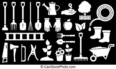 outils, travail, jardinage