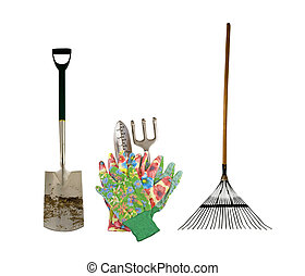outils, variété, isolé, jardin