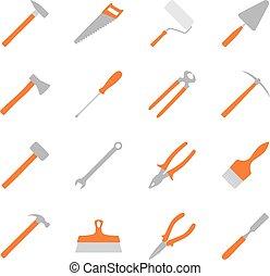 outils, vecteur, ensemble, couleur, illustration, construction