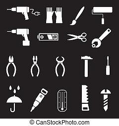 outils, vecteur, -, main, icônes