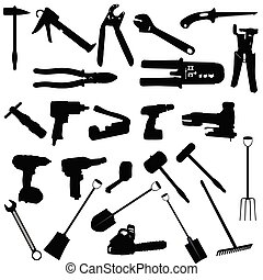 outils, vecteur, silhouette, illustration