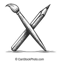 outils, vector., artiste, crayon, drawing., symbole., brosse, art