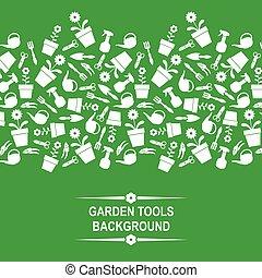 outils, vert, jardin, fond