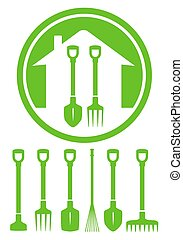 outils, vert, jardin, icône