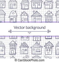 outine, casas, vetorial, ilustração