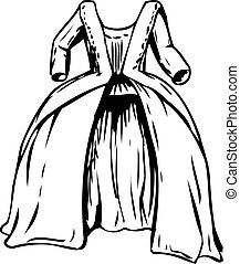 Outlined round gown or court dress from 18th century fashion