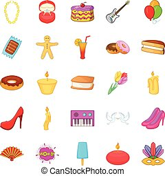 Outing icons set, cartoon style