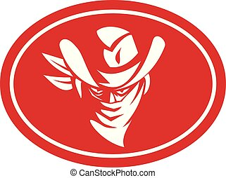 outlaw-bandana-cowboy-hat-front-plate-NONE - Mascot icon ...