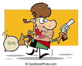 Western Cowboy Running With A Pistol And Sack Of Money
