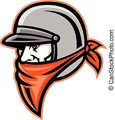 outlaw-motorcycle-helmet-MASCOT - Mascot icon illustration...