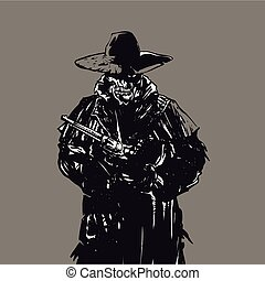 Outlaw skull cowboy illustration