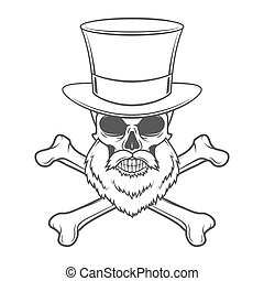 Outlaw skull with beard, high hat and cross bones portrait...
