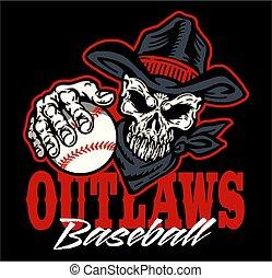 outlaws baseball team design with cowboy skull mascot ...