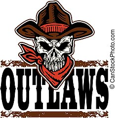 outlaws cowboy skull - outlaws design with skull and cowboy...