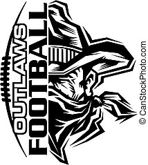 outlaws football team design with laces and half mascot for school, college or league