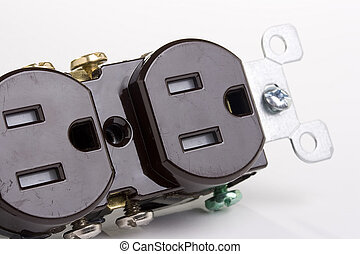 Brown wall outlet on a white background.