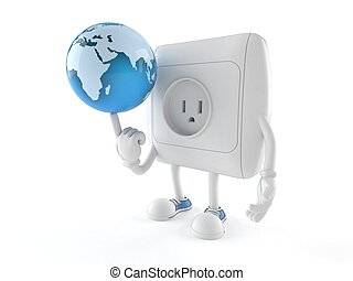 Outlet character with world globe