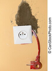 Electric socket in construction site