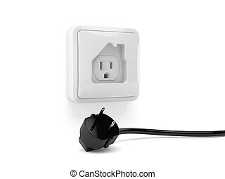 Outlet in house shape with electric plug