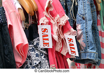 Kids Fashion labelled by a sale sign