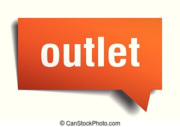 outlet orange 3d speech bubble - outlet orange 3d square...