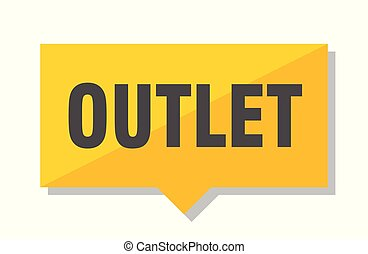 outlet price tag - outlet yellow square price tag