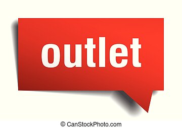 outlet red 3d speech bubble - outlet red 3d square isolated...