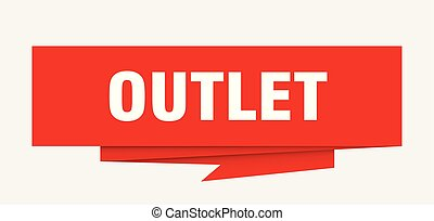 outlet sign. outlet paper origami speech bubble. outlet tag....