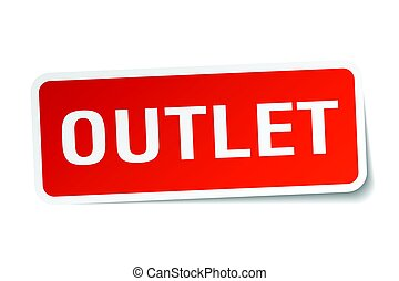 outlet square sticker on white