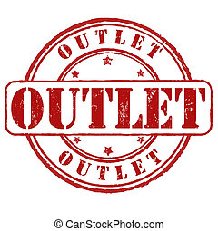 Outlet stamp - Outlet grunge rubber stamp on white, vector...