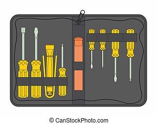 outline., εργαλείο , μαύρο , maintenance., αποσκευή
