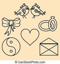 outline., セット, バレンタイン, 要素, デザイン, 日