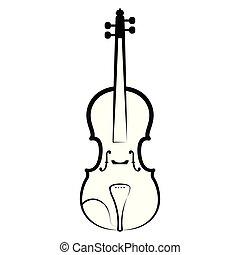 outline., バイオリン, ミュージカル, 隔離された, 道具