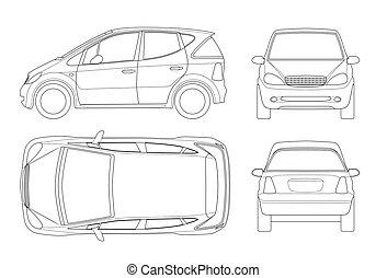 outline., 側, isolated., auto., top., 電気である, コンパクト, hi-tech, 後部, ハイブリッド, 厚さ, eco 友好的, 容易である, 車, テンプレート, lines., 変化しなさい, 自動車, ∥あるいは∥, ベクトル, 小さい, 前部, 光景