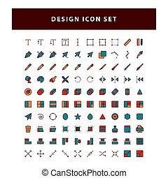 outline, 图标, 设计, 装满, 编辑, 矢量, 风格, 放置