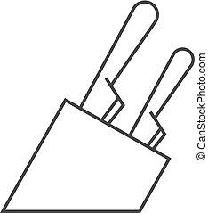 outline, 圖象, -, 刀, 持有人