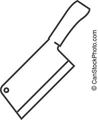 outline, 圖象, -, 屠夫刀