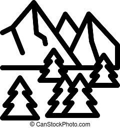 outline, 山, 圖象, 自然, 森林, 矢量, 多雪, 插圖