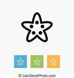outline., 平ら, 星, 動物, ヒトデ, シンボル, 隔離された, イラスト, 要素, ベクトル, 海, 最新流行である, 優れた, 品質, style.