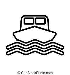outline, 线, 船, 签署, 矢量, icon., style., 船