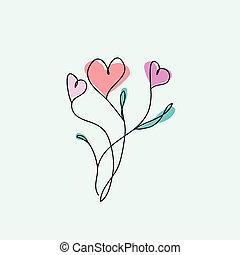 Outline abstract heart flowers on the white