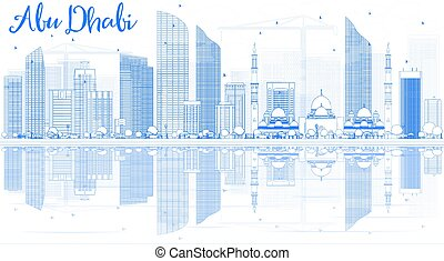 Outline Abu Dhabi City Skyline with Blue Buildings and Reflections.