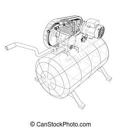 Outline Air compressor. Vector rendering of 3d. Wire-frame...