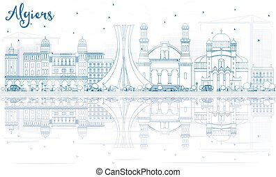 Outline Algiers Skyline with Blue Buildings and Reflections.