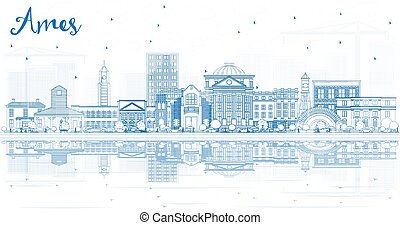 Outline Ames Iowa Skyline with Blue Buildings and ...