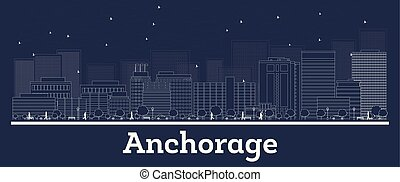 Outline Anchorage Alaska City Skyline with White Buildings....