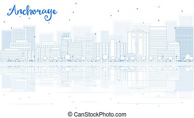 Outline Anchorage skyline with blue buildings.