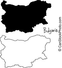 outline and silhouette map of Bulgaria - vector illustration hand drawn with black lines, isolated on white background