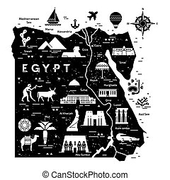 Outline and silhouette map of Egypt - vector illustration hand drawn with black lines